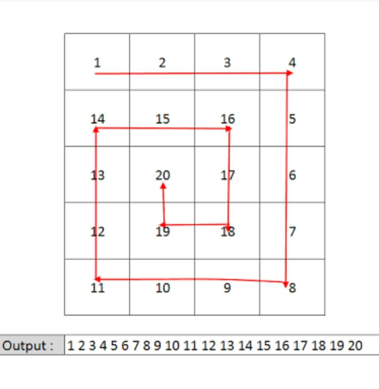 Spiral path of a matrix